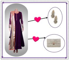 Add style to your simple Kanika Kedia anarkali with this clutch by Devina Juneja and blingy Prerto earrings.