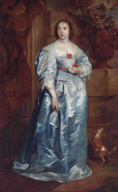 """""""A Lady of the Spencer Family"""", ca. by Sir Anthony Van Dyck. Spaniels and lizards are symbols of fidelity, and would be appropriate inclusions in a portrait of a recently betrothed or married woman. Anthony Van Dyck, Sir Anthony, Spencer Family, Lady Spencer, 17th Century Clothing, 17th Century Fashion, Historical Costume, Historical Clothing, Historical Dress"""