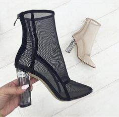 Simmi Shoes. Clear block heel. Nude and black block boot.