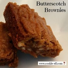 Butterscotch Brownies: simple Blondie recipe from scratch from The Cookie Elf. Cake Mix Cookie Recipes, Cake Mix Cookies, Brownie Recipes, Cookies Et Biscuits, Butterscotch Brownies, Baking Recipes, Bar Recipes, Baking Tips, Christmas Brownies