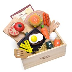 Woody Puddy American Food Set in a Box, 22 pieces -- You can get additional details at the image link. Little People, Little Ones, Pretend Grocery Store, Kids Play Spaces, Kids Rooms, Lunch Items, Play Money, Mini Muffins, Play Food