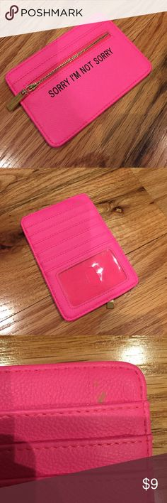 Hot Pink Wallet Insert Used 1x. Small stain on corner (pictured). Holds 5 cards, ID & coins. Super cute! ASOS Accessories Key & Card Holders