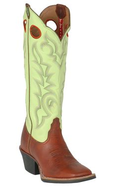 Tony Lama® 3R™ Women's Sienna Brown w/ Green Tall Top Double Welt Square Toe Buckaroo Western Boots | Cavender's Boot City