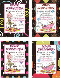 Tarjetas con motivos según el tema de la fiesta en papel glacé y cartulina de colores, tamaño 10×13 cms.