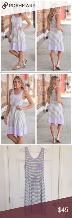 "Lavender Trim Striped Tank Dress Brand new with tag. 95% rayon and 5% spandex. Soft and stretchy. Waist is elastic band with strings to tie. Measurement laying flat: bust: 22"" length: 38"" (38) Infinity Raine Dresses Midi"