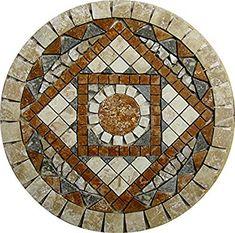 "Amazon.com: 24"" Tumbled Travertine Floor or Wall Art Medallion Mosaic: Home Improvement"