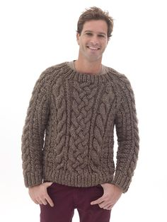 Raglan Cabled Pullover Pattern (Knit)