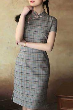 グレンチェックチャイナドレス(半袖)