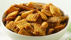 Chipotles and chili powder add a smoky, spicy kick to this snack mix.