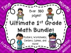 Ultimate Math Bundle! Over 350 pages! Time, Money, Fractions, Graphing, Tallys, Addition, Subtraction......
