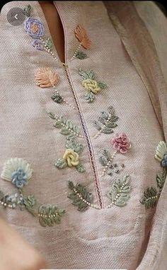 Zardozi Embroidery, Hand Embroidery Dress, Embroidery On Kurtis, Hand Embroidery Videos, Embroidery On Clothes, Embroidered Clothes, Embroidery Fashion, Hand Embroidery Stitches, Hand Embroidery Design Patterns