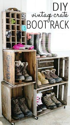 DIY Vintage Crate Shoe Rack