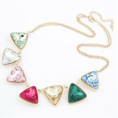 Gorgeous Exaggerated Triangle Unique alloy rhinestone Necklaces