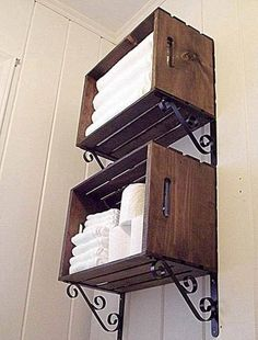 Crate wall storage, brackets from a home improvement store; crates from michaels stained. Crate wall storage, brackets from a home improvement store; crates from michaels stained. Diy Bathroom, Rustic Diy, Home Organization, Bathroom Storage, Diy Home Decor, Bathroom Decor, Home Diy, Home Decor, Home Projects