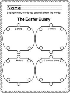 Classroom Freebies Too: Easter Edition: Making Words and Sentences
