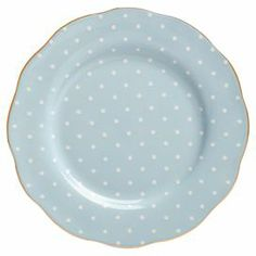 """Bone china salad plate with a polka-dot and floral motif and gold trim.   Product: Salad plateConstruction Material: Fine bone chinaColor: BlueDimensions: 0.5"""" H x 8"""" Diameter"""