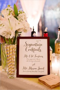 Signature cocktail sign at reception. Captured By: Adriana Klas Photography ---> http://www.weddingchicks.com/2014/05/23/elegant-and-classic-pink-wedding/