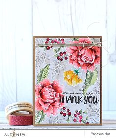 RejoicingCrafts: Watercolour flower card with Altenew Peony Bouquet and Oriental Orchid stamp sets. #altenew #watercolor #flower #stamping