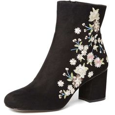Dorothy Perkins Black 'Aluna' Floral Ankle Boots (110 AUD) ❤ liked on Polyvore featuring shoes, boots, ankle booties, black, black floral boots, bootie boots, black shootie, black ankle booties and floral booties
