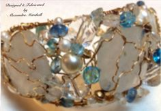 "This fabulous baby blue 14k gold filled freeform wire crochet 6 3/4"" cuff bracelet by Alexandra Marshall is embellished with amazonite, quartz, pearls, and crystals. Regular Price is $374. On sale for 50% off. Contact me via web host for discount code."