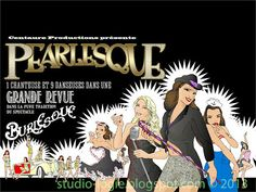 Affiche Pearlesque, burlesque show, with a LaSalle coupe convertible 1935 in the background.