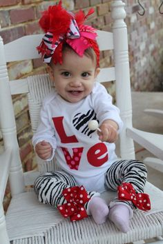 Baby Girl Valentines Day Outfit -- Little Diva Valentine -- zebra love bodysuit and leg warmers -- red, pink and zebra My Funny Valentine, Baby Girl Valentine Outfit, Valentines Outfits, Cute Kids, Cute Babies, Baby Kids, Little Diva, Little Girls, Baby Girl Fashion