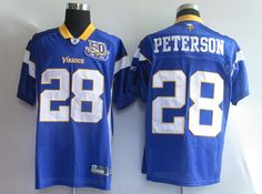 Adrian Peterson Purple 50th 28 Jersey  $19.99  This jersey belongs to Adrian Peterson, Minnesota Vikings #28  Color:purple, Size: M, L, XL, XXL, XXXL  The jersey is made of heavy fabric with nylon diamond weave mesh