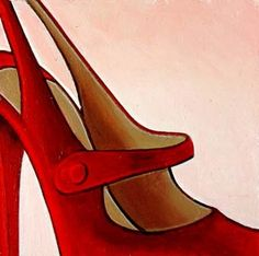 shoe paintings | Shoes-Still Life Painting of Red High Heel Christian Louboutin ...