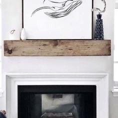 Millwood Pines Shiela Fireplace Shelf Mantel & Reviews   Wayfair Rustic Fireplace Mantels, Fireplace Mantel Surrounds, Wood Mantle, Fireplace Shelves, Farmhouse Fireplace, Open Fireplace, Mantel Shelf, Fireplace Ideas, Fireplace Design