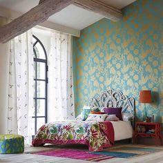 blue vintage spring floral wallpaper, watercolor wallpaper, wall, Innenarchitektur ideen