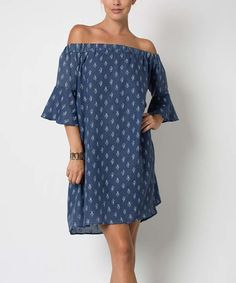 Look at this Love In Denim Blue Off-Shoulder Shift Dress on #zulily today!