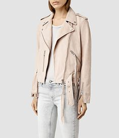 All Saints Plait Balfern Leather Biker Jacket in Nude Pink