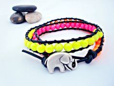 The Electro-Neon leather wrap bracelet Limited Edition
