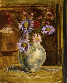 Vanessa Bell  Still life of flowers in a vase, violet and pink chrysanthemum, late 1940s