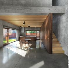 mmm concrete & wood, a heavenly union. Concrete Beaumont House by Henri Cleinge Concrete Wood, Concrete Design, Concrete Houses, Polished Concrete, Beaumont House, Canadian House, Concrete Interiors, Beton Design, Interior Architecture