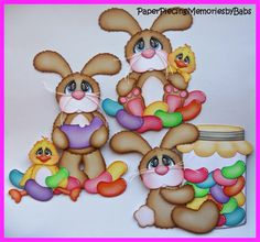 Jelly Bean Bunnies for scrapbook pages, created by PAPER PIECING MEMORIES BY BABS using patterns from KaDoodle Bug Designs