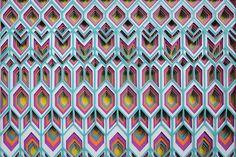 3d paper art by maud vantours creates multi-layered beautiful color patterns