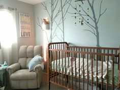 Woodland nursery- color contrast with trees and wall