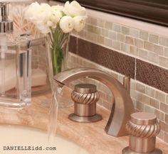 bathroom , backsplash , glass tile , metal , Glass Back Splash with Metal Inlay