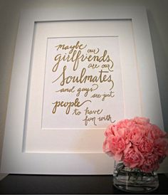 Best Friend Quote Soulmates SEX and the CITY by VelvetCrownDesign