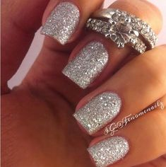 30 Beautiful Sparkling Nail Designs: 30 sparkling nail designs. Everyone will agree that these nails look really beautiful , you can wear them on weddings,on holidays , or just daily.This trends are popular all the time ,for every season. #nails #nailart #glitternails Wedding Nails For Bride, Bride Nails, Prom Nails, Glitter Wedding, Wedding Makeup, Hair Wedding, Wedding Attire, Fabulous Nails, Gorgeous Nails