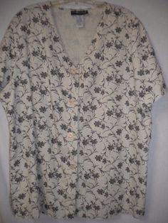 031b97fa58d Sag Harbor Plus Size 1X Beige Black Floral Linen Blend Short sleeve Women  Top  SagHarbor  Button  Versatile