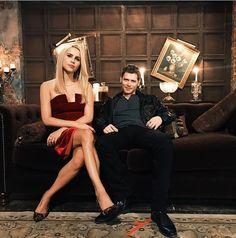 Claire Holt and Joseph Morgan between scenes season 5