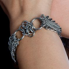 Rapt In Maille | Handmade Chainmaille Jewelry by Melissa Banks | Stainless Steel | Chicago — GLAM Rosette Ribbon Bracelet