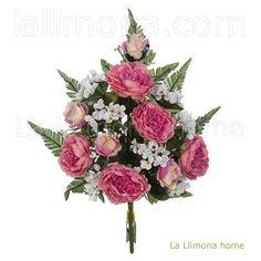 Ramos artificiales cementerios y jardineras Todos los Santos. Ramo artificial peonias fucsia con rosas 60