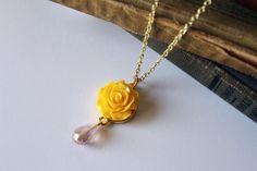 Belle Rose Pendant / Disney Inspired Jewelry Yellow Rose Pink