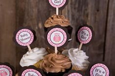 Owl Cupcake Toppers Baby Shower - Pink & Brown