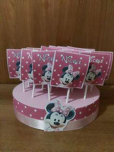Sweet Table: Alzatina Minnie Lecca lecca bianco/rosa
