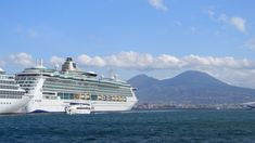 Naples; Cruise ship Brilliance of the Seas with views of Mount Vesuvius.