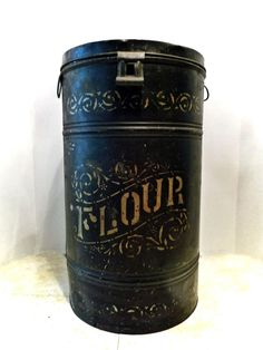 "Antique Country Store TOLE WARE FLOUR Bin:  c1900 Tin 20"" high Flour Tin Box - 1"